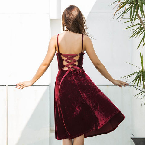 Spaghetti Strap Velvet One Piece Dress [519714603023]