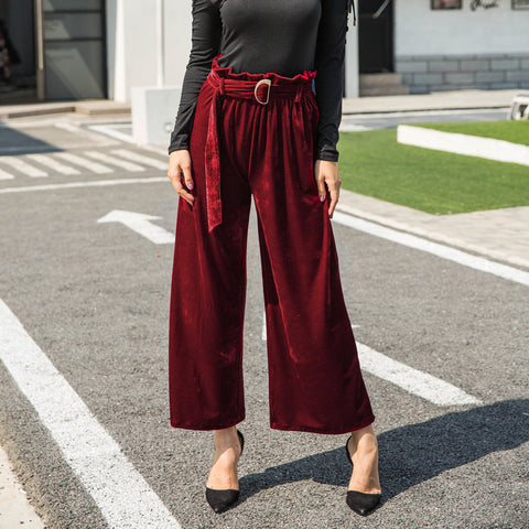 Casual High Waist Velvet Pants [519714734095]