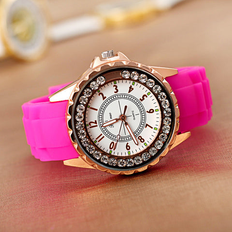 Awesome Good Price Designer's Trendy Great Deal Gift New Arrival Hot Sale Stylish Silicone Diamonds Summer Watch [4915364164]