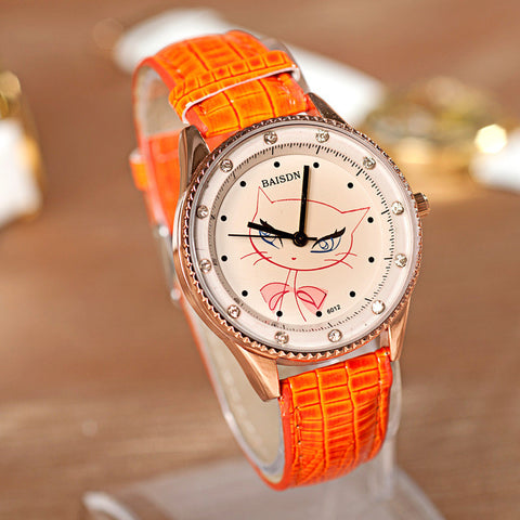 Awesome New Arrival Designer's Good Price Great Deal Trendy Gift Korean Stylish Gifts Cats PU Leather Diamonds Watch [4915363908]