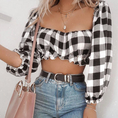 Creative Bright Colorful Stylish Women's Fashion Hot Sale Summer Crop Top Plaid Lights [779896356974]