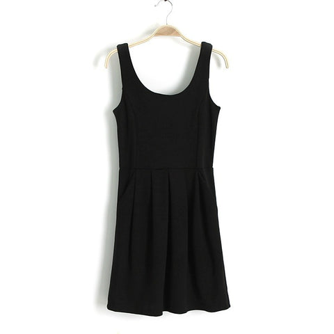 Stylish Zippers Sleeveless Spaghetti Strap Women's Fashion One Piece Dress [4917831172]