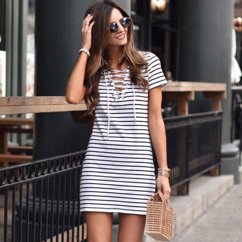 Women's Fashion Hot Sale V-neck Short Sleeve One Piece Dress [779893178478]
