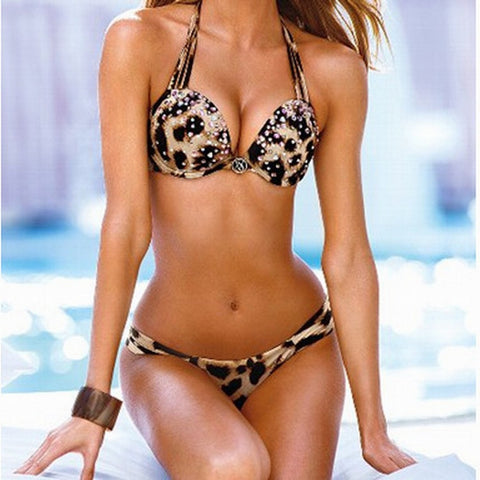Sexy Beach Swimsuit New Arrival Summer Hot Style Swimwear With Steel Wire Thicken Cup Leopard Diamonds Bikini [4914780356]