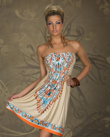 Strapless Print Dress  [6259289476]