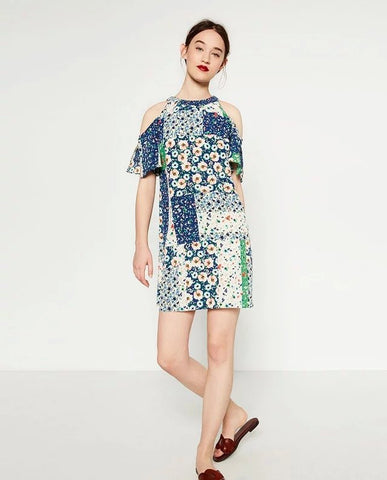 Multicolor Short Sleeve Cold Shoulder Print Dress [6259171972]