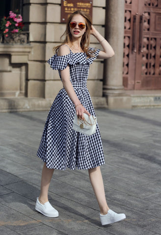Black Checkerboard Fold Over Cold Shoulder Dress [6259171140]