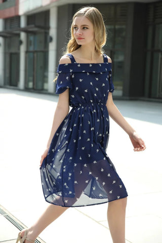 Navy Cold Shoulder Ice Cream Printed Chiffon Dress [6259169540]