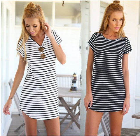 Round-neck Striped Slim Dress [6259171204]