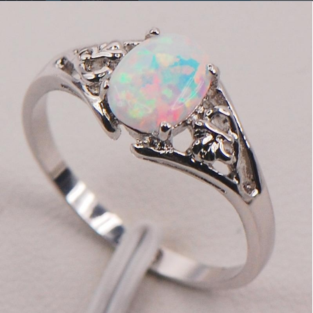 White Fire Opal 925 Sterling Silver Ring (With Thanksgiving&Christmas Gift Box)[6240897732]