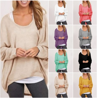 Women Ladies Oversized Loose Long Sleeve Shirt Blouse Baggy  irregular Tops Jumper [6264391108]