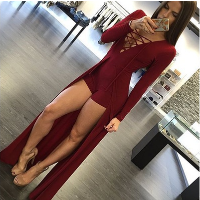 Fashion Women Chest Strap Sexy Long-sleeved Dress [6264423236]