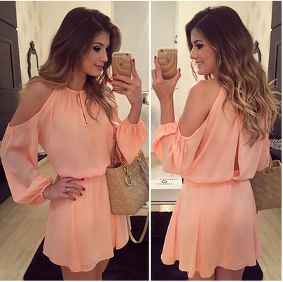 New Arrival 2016 Autumn Fashion Women chiffon Dress sexy o-Neck Long Sleeves Asymmetrical Casual Mini Dress summer Strapless backless dress Women Clothes Vestidos [6264515524]