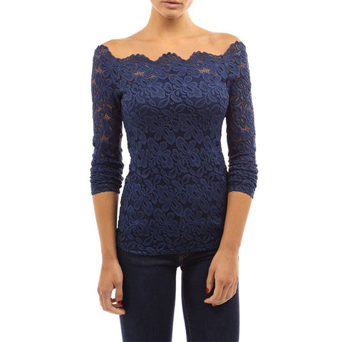4 Colors Autumn Blusas Sexy Women Off Shoulder Slash Neck Lace Crochet Shirts Long Sleeve Slim Casual Tops Blouse [6269642948]