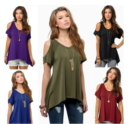 9 Colors Women Short Sleeve Casual Solid Tops T-shirt Blouse [6269921860]