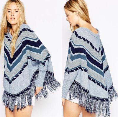Autumn And Winter Geometry Spell Color Loose Cloak Cape Fringed Sweater Hedging [6331593476]