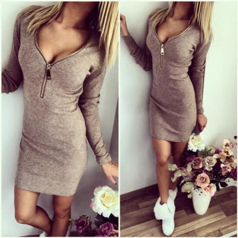 V-neck Zippers Long Sleeve One Piece Dress [6368736068]