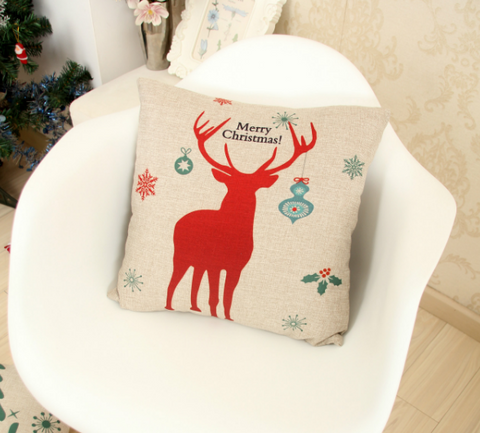 Christmas New Year Elk Moose Cotton Cushion Pillow Cover [9646952015]