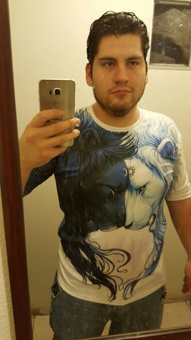 New Hot Men 3d T Shirt Cotton Short Sleeved Tops Personality Casual Lion Printing