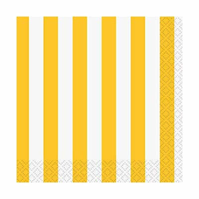 Beverage Napkin- Stripe Yellow