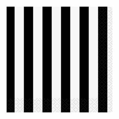 Beverage Napkin- Stripe Black