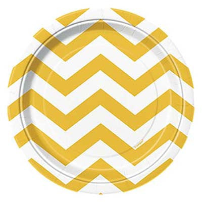 Dessert Plate- Chevron Yellow