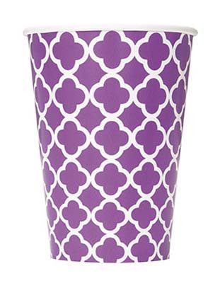 Party Cup- Quatrefoil Purple