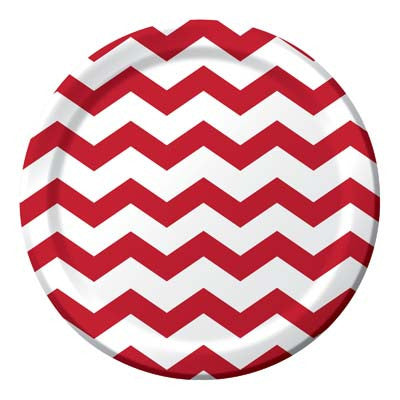 Lunch Plate- Chevron Red