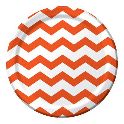 Lunch Plate- Chevron Orange
