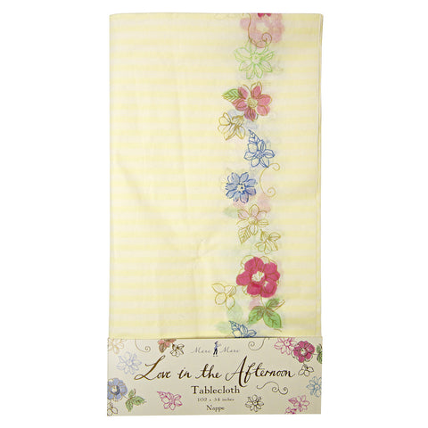Yellow Stripe Floral Tablecloth -