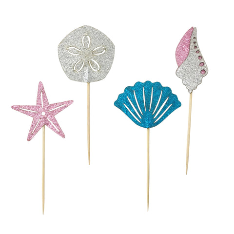 Glitter Seashell Picks