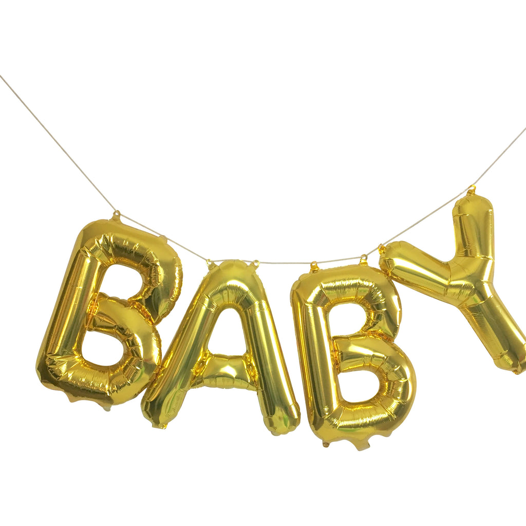"""BABY"" Gold Balloons"