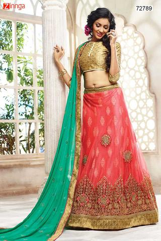 Women's Pink Color & Net Fabric Gorgeous Unstitched Lehenga Choli With Lace Work Dupatta This attire is nicely made with Resham & Lace work.