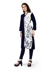 DarkBlue Color Rayon Stitched Kurti - RF-003