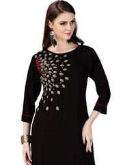 Black Color Rayon Stitched Kurti - RF-005