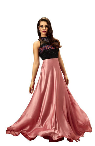 Rose Pink Color Satin and Net Stitched Gown - 006-01-17