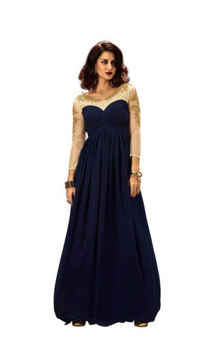 Navy Blue Color Net Stitched Gown - 007-01-17