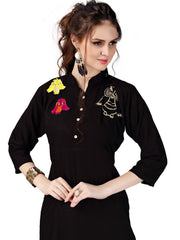 Black Color Rayon ReadyMade Kurti - RF008