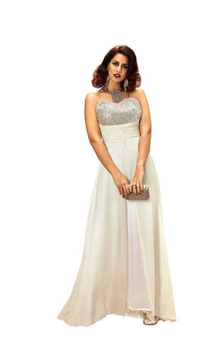 Off-White Color Pure Georgette Stitched Gown - 009-01-17