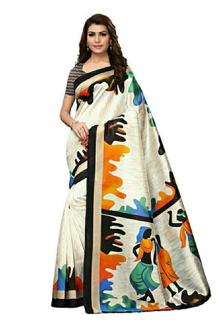 Off White And Black Bhaglpuri Silk Saree - 02-Black
