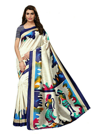 Off White And Blue Bhaglpuri Silk Saree - 02-Blue
