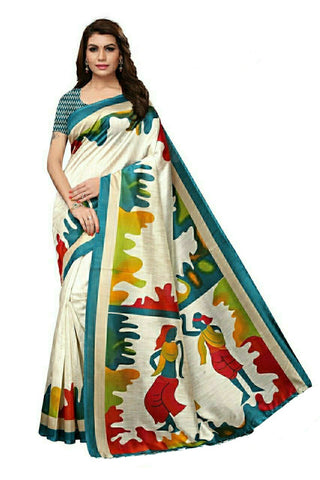 Off White And Green Bhaglpuri Silk Saree - 02-Green