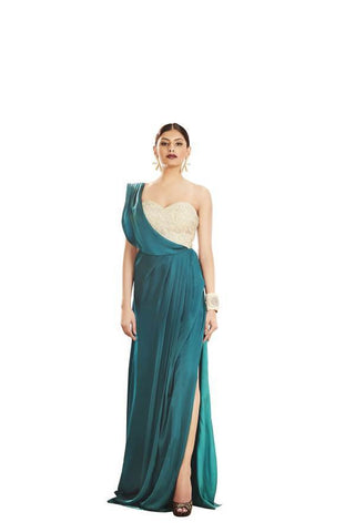 Dark Cyan & Beige Color Brezza Satin Stitched Gown - 029-01-17