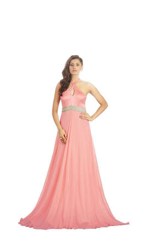 Rose Pink Color Net and Satin Stitched Gown - 032-01-17