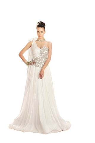White Color Pure Chiffon Stitched Gown - 033-01-17