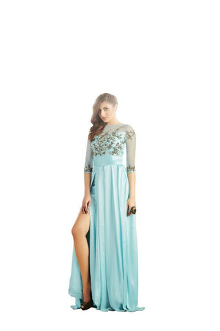 Blue Color Net and Japan Satin Stitched Gown - 034-01-17