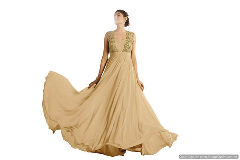 Gold Color Net , Satin and Georgette Stitched Gown - 035-01-17