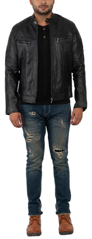 FRANCHISE CLUB Black Color Sheep Nappa Leather Mens Jacket - 0352BLACK