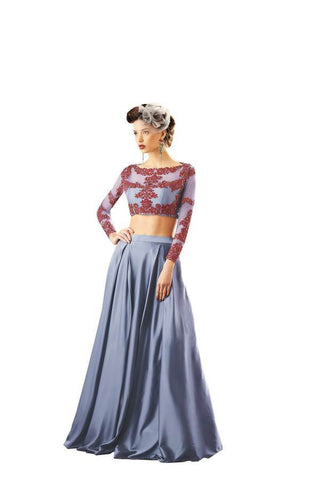 Grey and Red Color Net Stitched Skirt - 037-03-17