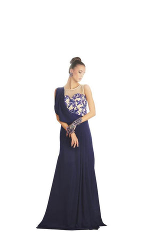 Blue Color Brezza Satin Stitched Gown - 038-01-17